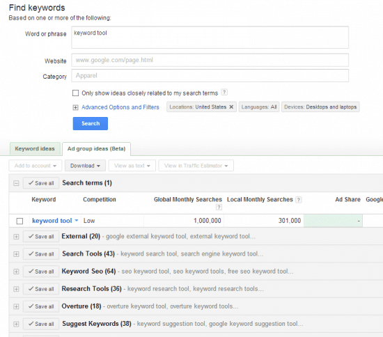 external keyword tool adwords