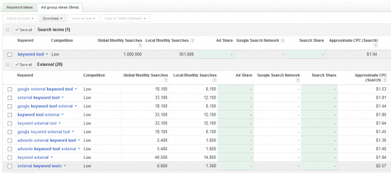 external keyword tool adwords research