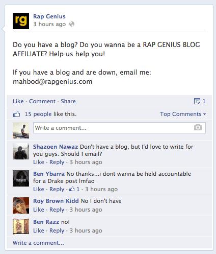 rapgenius facebook seo