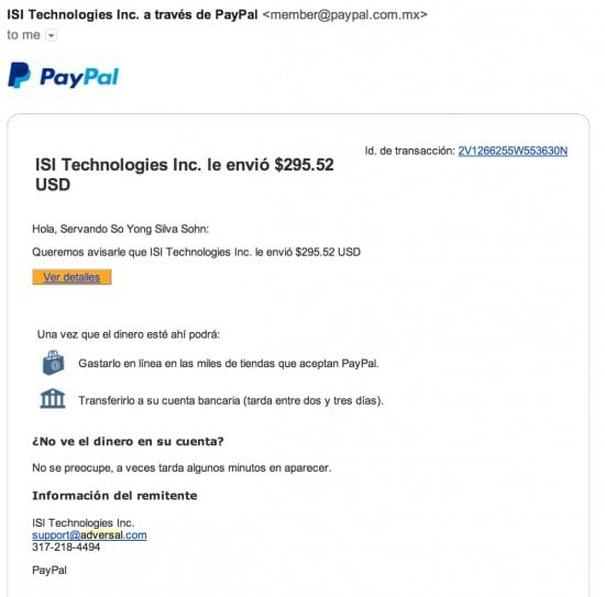 Adversal payment proof