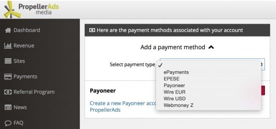 Propeller Ads Pop Under Review Payment Options