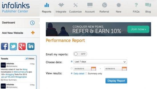 Make money Contextual Ads infolinks review dashboard