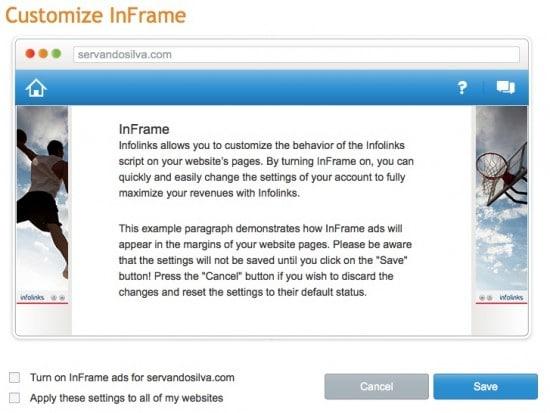 Make money Contextual Ads infolinks review inframe