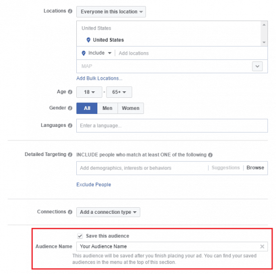 Custom Audience Facebook Saved Audience