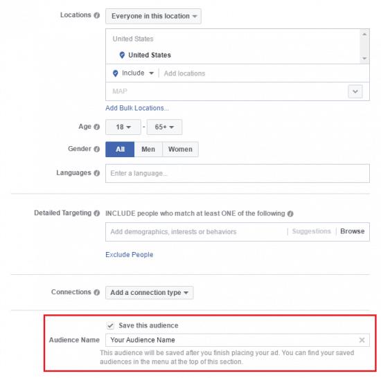 Custom Audience Facebook Saved Audience