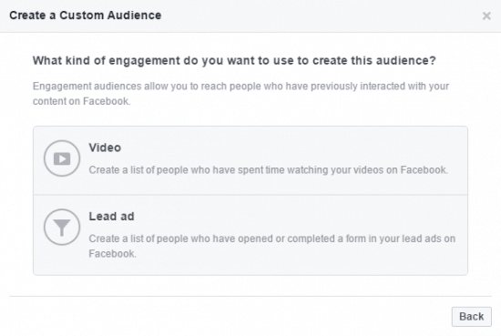 Engagement Custom Audience Facebook