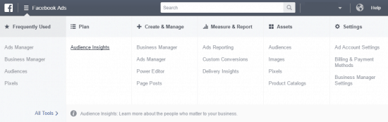 Facebook Audience Insights Menu