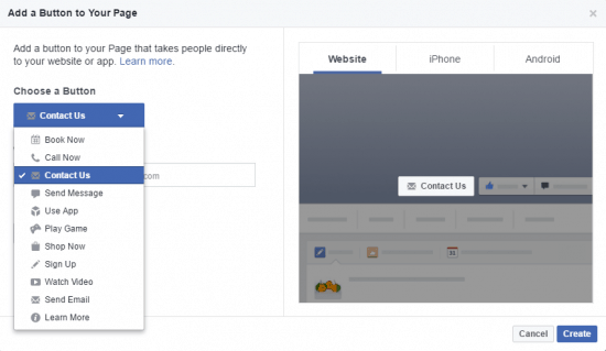 How to create a facebook fan page add call to action button