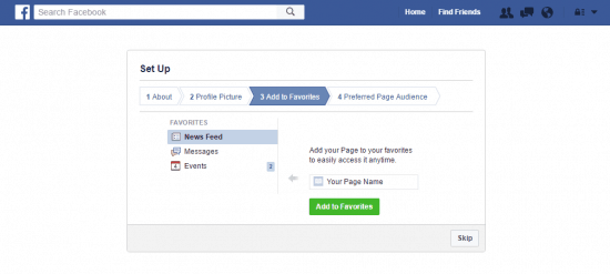 How to create a facebook fan page add favorites