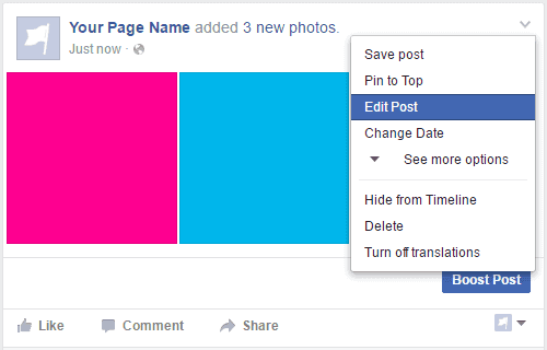 How to create a facebook fan page edit post