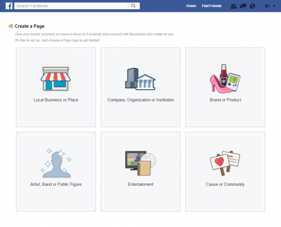 how to create a facebook fan page types