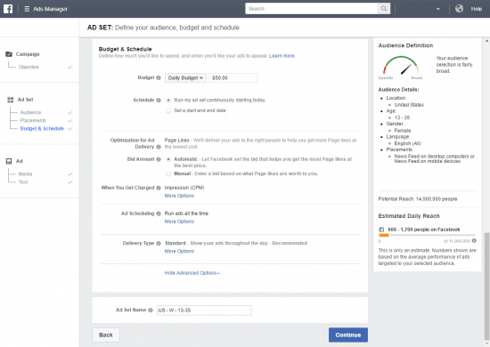 how to get likes on facebook page budget schedule