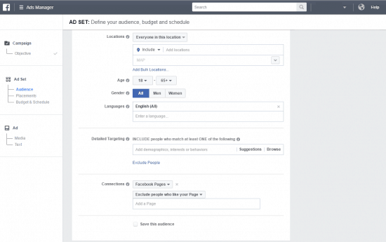 How to get likes on facebook page set audience