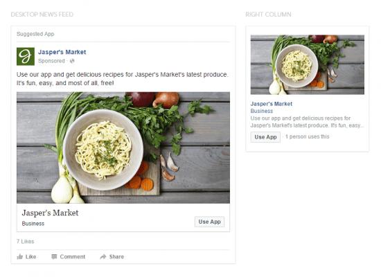 Types of Facebook Ads App Engagement Desktop
