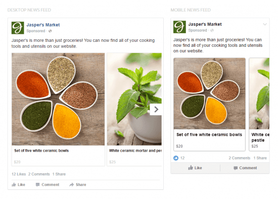Types of Facebook Ads Carousel