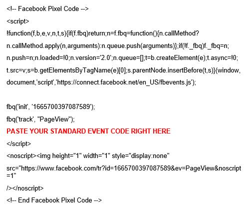 facebook retargeting pixel code standard event