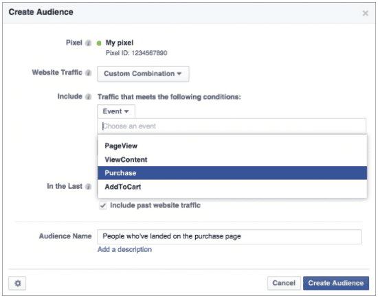 facebook retargeting pixel create audience