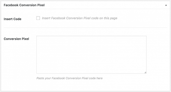 facebook retargeting pixel plugin box