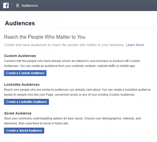remarketing facebook create audience
