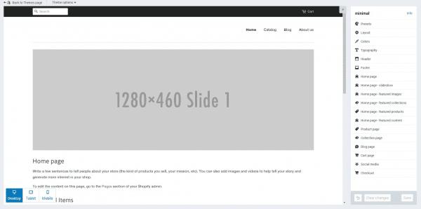 shopify set up design theme