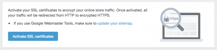 shopify create your online store part 1 activate ssl certificate