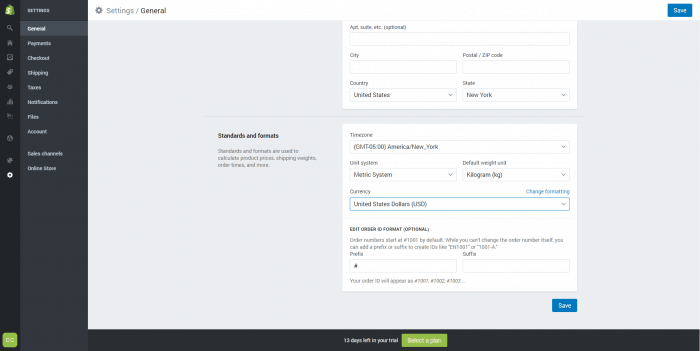 shopify create your online store part 1 dashboard general