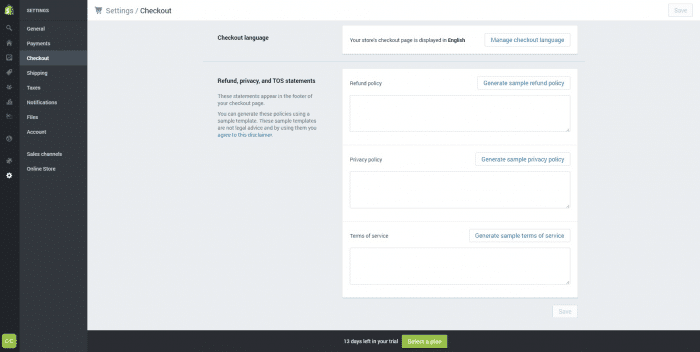 shopify create your online store part 1 dashboard refund policy terms of service