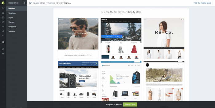 shopify create your online store part 1 dashboard theme store
