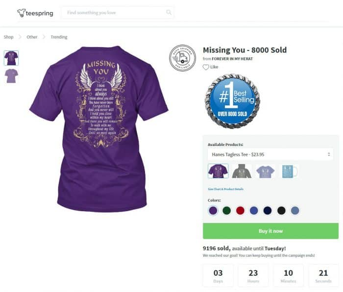 shopify empires the process behind 100000 per month ecommerce stores teespring tshirt campaign missing you angel