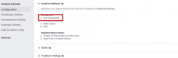 Make Money Facebook Instant Articles Audience Network - Dashboard