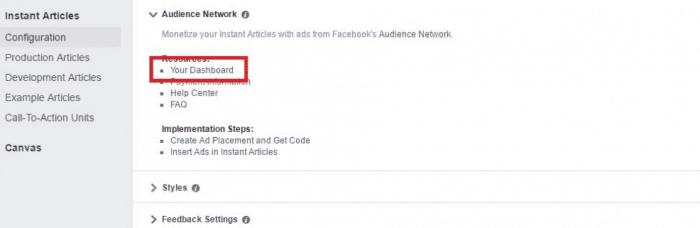 Guadagna Facebook Articoli istantanei Rete del pubblico - Dashboard
