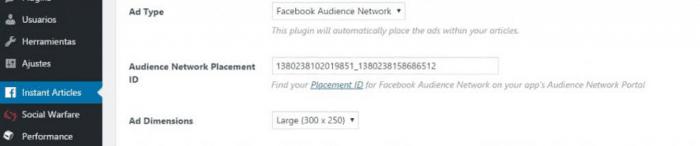 Guadagna Facebook Articoli istantanei Rete del pubblico - Articoli istantanei WordPress Setup