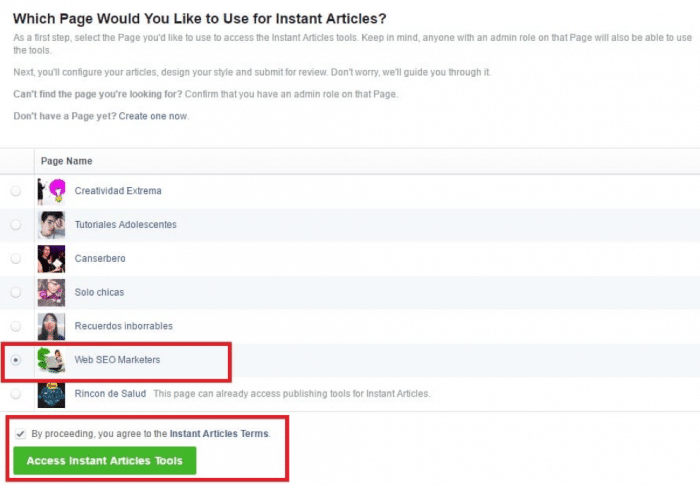 Make Money Facebook Instant Articles Audience Network - Page Selection