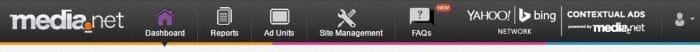 media net dashboard menu