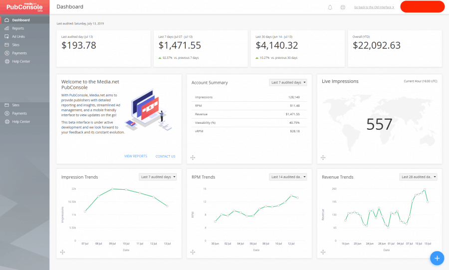 media.net review - pubconsole dashboard