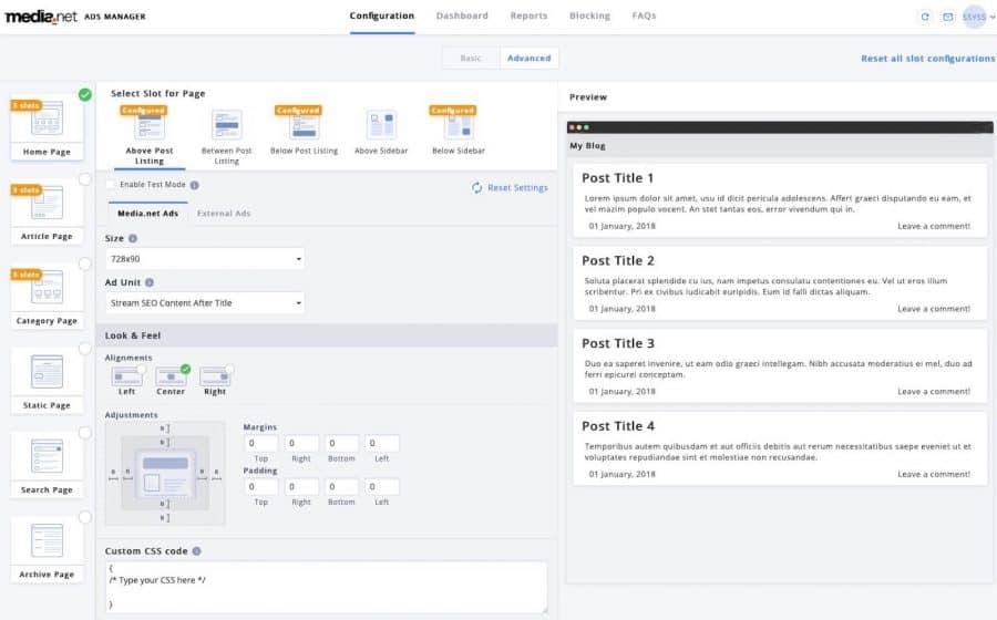 media.net review - wordpress plugin ad customization