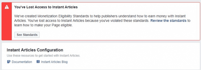 facebook instant articles lost access