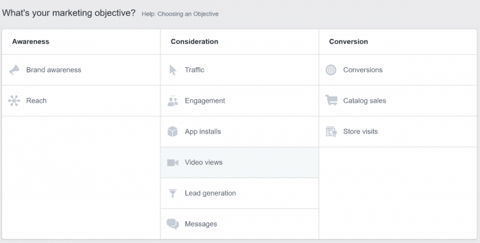 Facebook eCommerce Case Study - Facebook Campaign objectives
