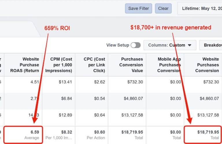Facebook eCommerce Case Study - Results and ROI
