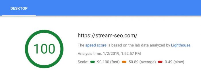 Stream SEO 2019 goals - Google Page Speed Desktop