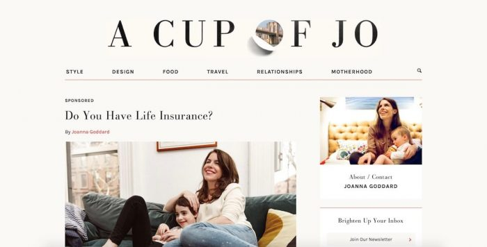 bestlifestyle blogs a cup of jo