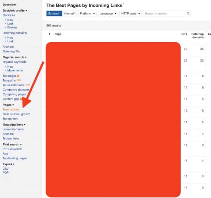 on page seo case study - ahrefs best by links