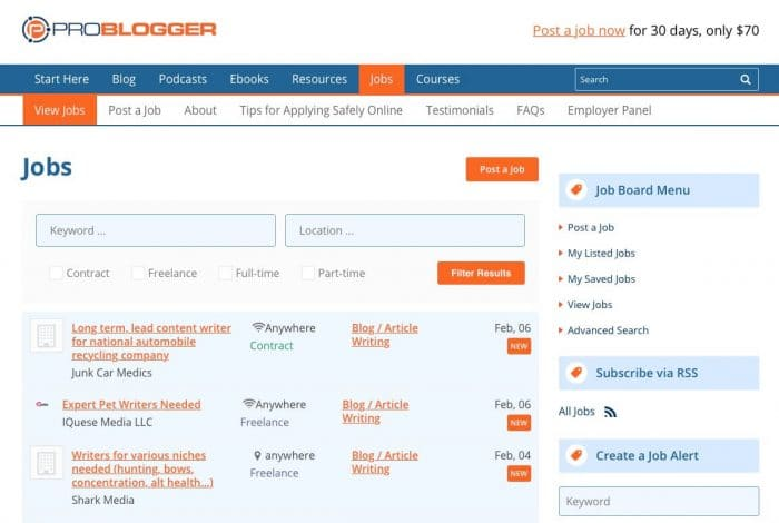 how to monetize a website - job board