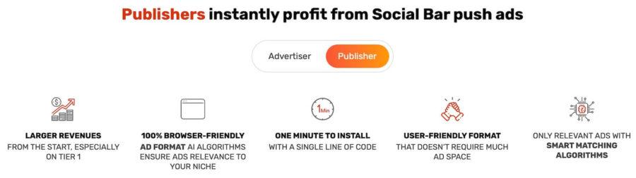 Adsterra Social Bar benefits